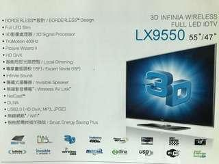 LG 55寸 3D立體平面大電視 LX9550 Big screen Smart Television ( TV stand & Remote has some problem 電視座已分離及搖控有些問題)