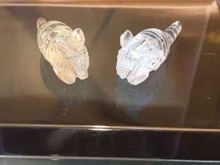 白水晶原礦雕刻一對迷你穿山甲型擺件