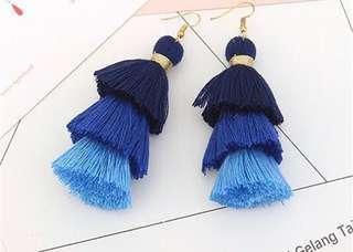 Blue Ombre Tassel Earrings