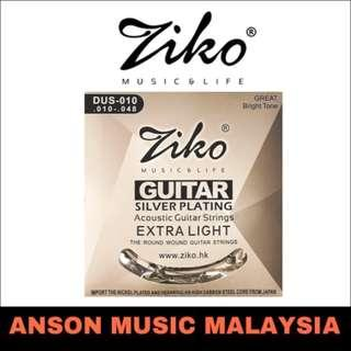 Ziko DUS-010 Silver Plating Extra Light Acoustic Guitar Strings, .010-.048