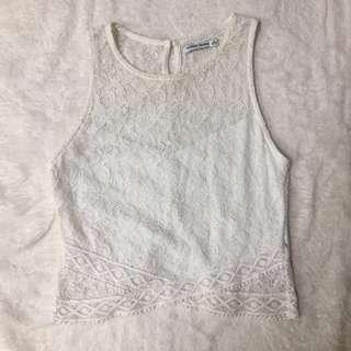 crop lace tank top putih