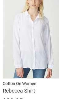 White Collared Long Sleeve Cotton On