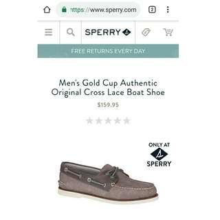 Sperry Topsider Gold Cup Cross lace grey original