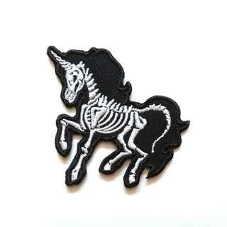 Unicorn Skeleton Morbid Gothic Iron On Patch