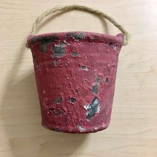 <全新>棗紅色復古陶瓷手盆圓形花盆