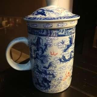 Porcelain Cup With Lid & Filter