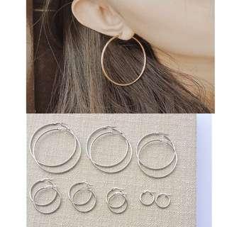 Silver Non Tarnish Hoop Earrings