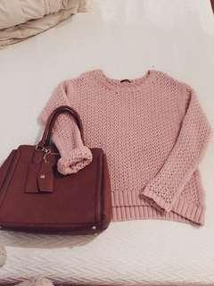 Dex Blush Pink Pullover Oversized Knit Sweater