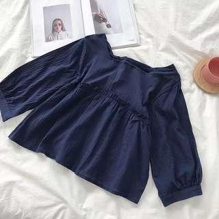 🚚 Blue Babydoll Top