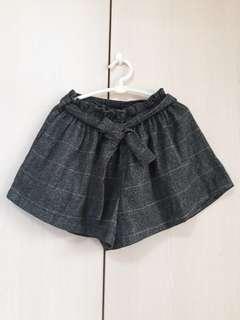 🚚 咖啡色格紋毛料褲裙