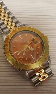ROLEX 1979 VINTAGE GMT MASTER TWO TONE ROOT BEER NIPPLE DIAL TROPICAL WOODEN BROWN 16753