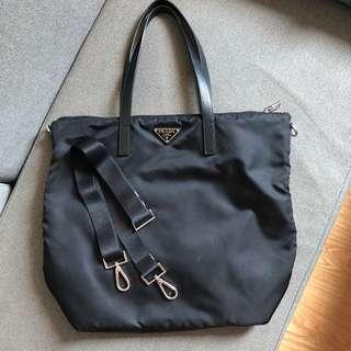 Authentic Prada Tessuto Nylon and Saffiano Leather Tote Bag 1BG696