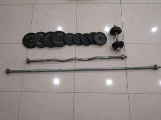 Dumbell barbell curl bar
