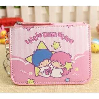 Pink Stripes Little Twin Stars Ezlink Card Holder Coin Purse
