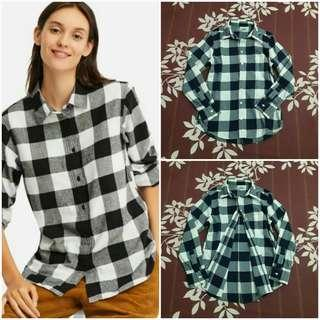 UNIQLO Flannel Checked Long Sleeve Shirt (Navy M)