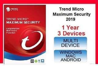 [ Genuine ] Trend Micro Maximum Security 2019 - 1 YEAR 3 PC