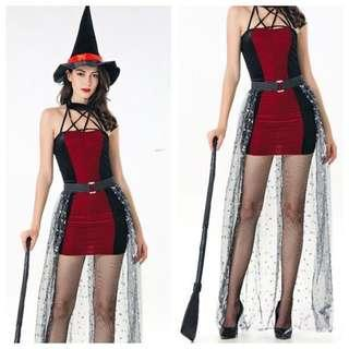 IN STOCK Witch costume black red costume Halloween costume evil queen costume fright night costume horror costume Cosplay party Halloween party sexy Halloween costume