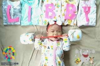 🚚 0-3 libby Baby premium sleepsuit foldback mittens booties / built in mittens /onesie