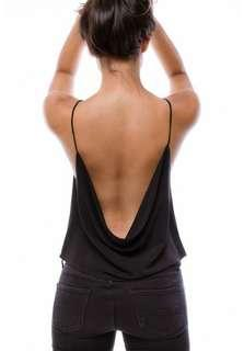 6two7 Zahra Drape Back Cami Top in Black