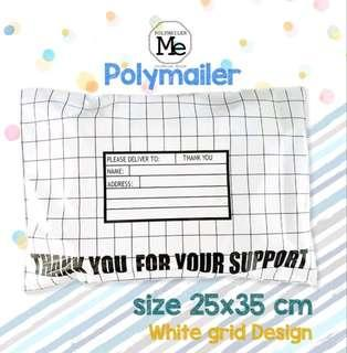 Polymailers white grid design