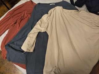 🚚 三色薄長袖素t(單件賣)三件可算400
