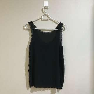 Authentic Pink Manila Black Sheer Scalloped Cami Blouse