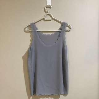Authentic Pink Manila Light Grey Sheer Scalloped Cami Blouse