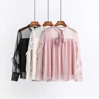 Lacey Pleated Long Sleeve Blouse