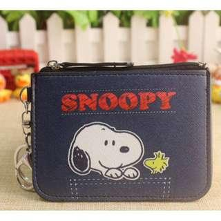 Navy Blue Snoopy and Woodstock Ezlink Card Holder Coin Purse