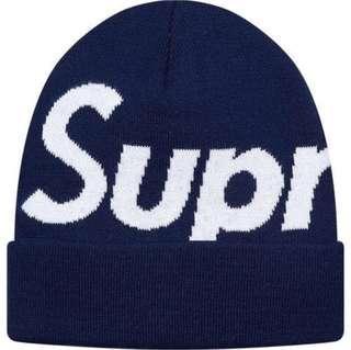 Supreme 2017 F/W BIG LOGO毛帽 深藍