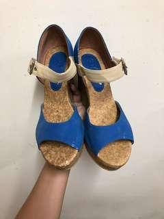 🚚 🙌可議價🙌藍米色高跟涼鞋