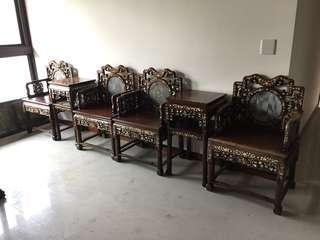 割愛8椅4几 老酸枝嵌鏍鈿家具