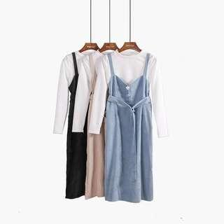 Belted Corduroy Pinafore
