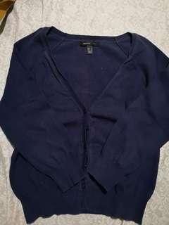MANGO Suit Cardigan (Navy Blue)