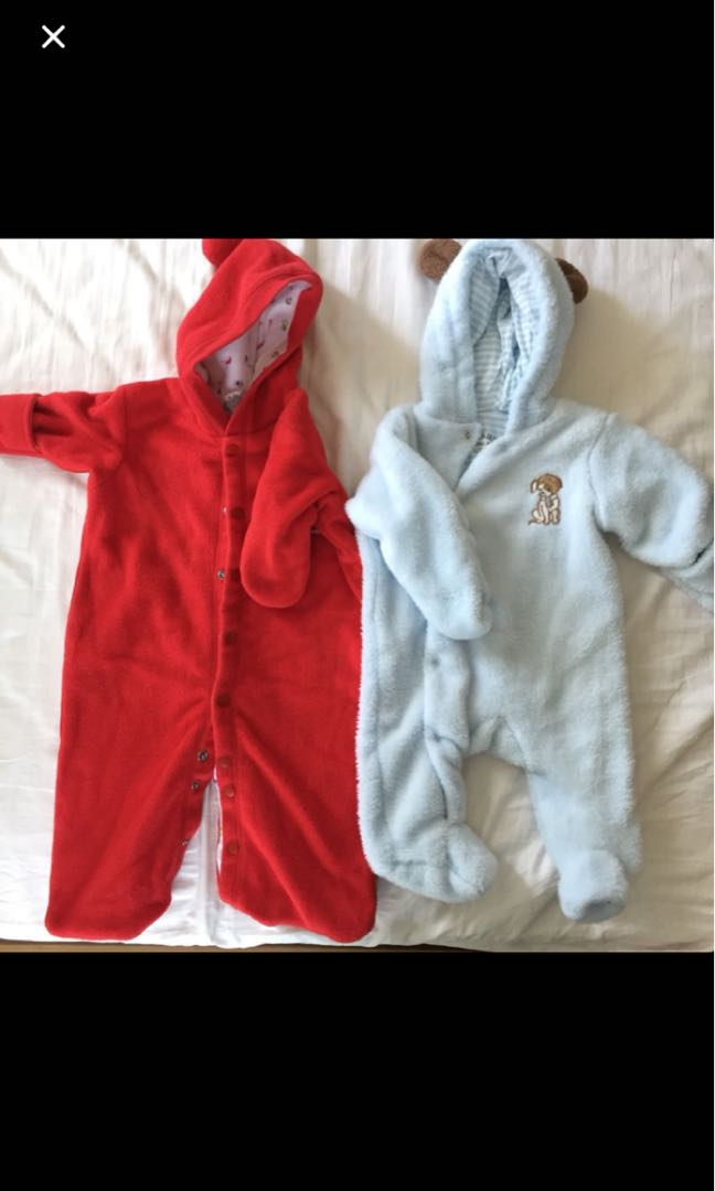 f954a6545 2 x baby snowsuit bunting romper outerwear (0-3 or 6 months)