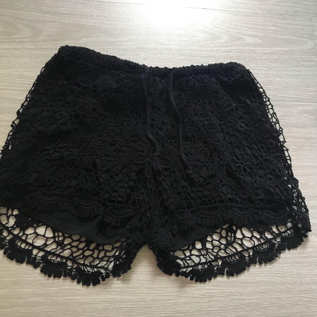 Black Cotton On Crochet Shorts Womens Fashion Clothes Pants