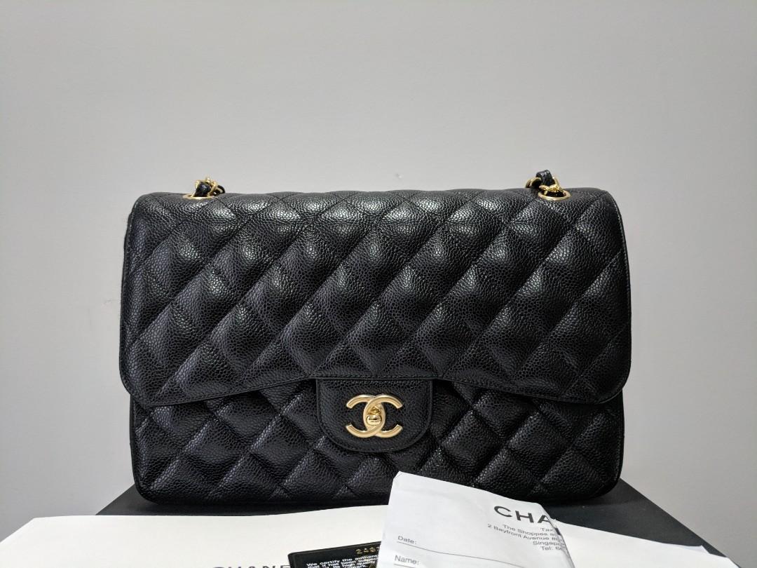 c2e5aa793fa9 Use Once Full Set! Authentic Chanel Jumbo Classic Double Flap Bag in ...