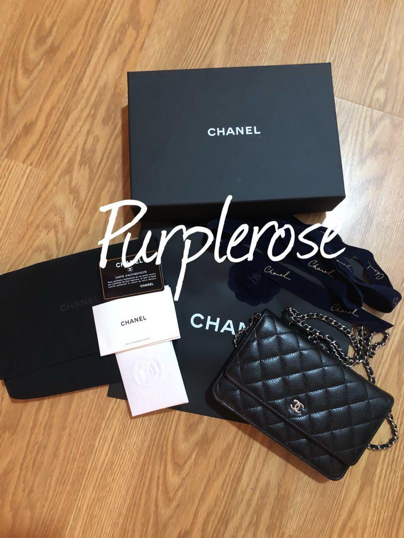 CHANEL WOC Black Quilted Caviar Silver Hardware