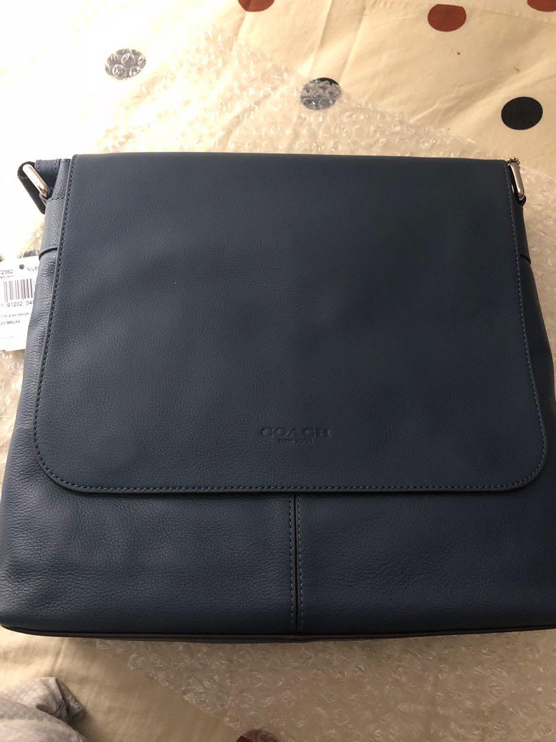 bfc214022565 Coach Men s Charles Small Messenger Bag Dark Denim Leather F72362 ...