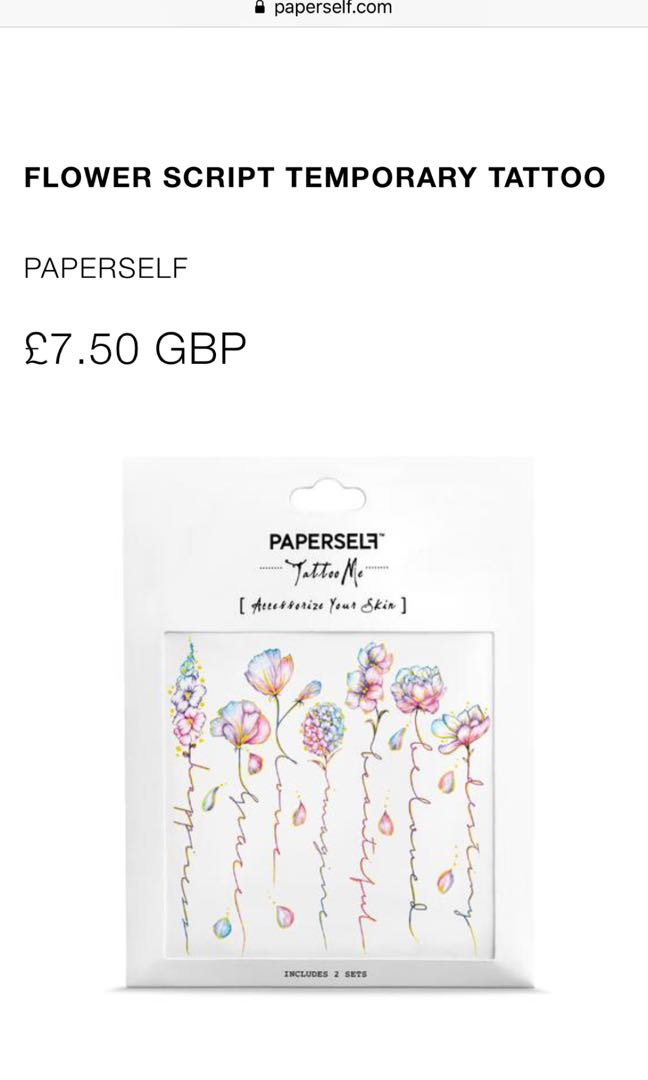 6666b04a4 Paperself - temporary tattoo (flower script) - 1 left in the pack ...