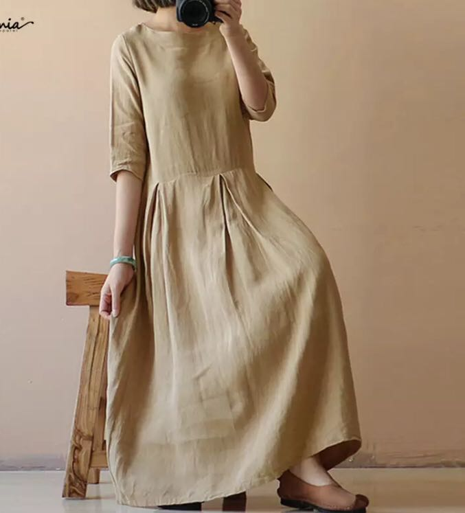 18c45b35d7 PO) M-4XL Women Linen Dress Summer 2018 Female Half Sleeve Solid ...