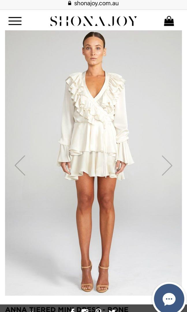 RENTING: Shona Joy Anna Tiered Mini Dress - Bone