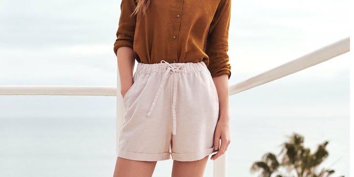 23e6a63edb00 UNIQLO white linen relaxed shorts