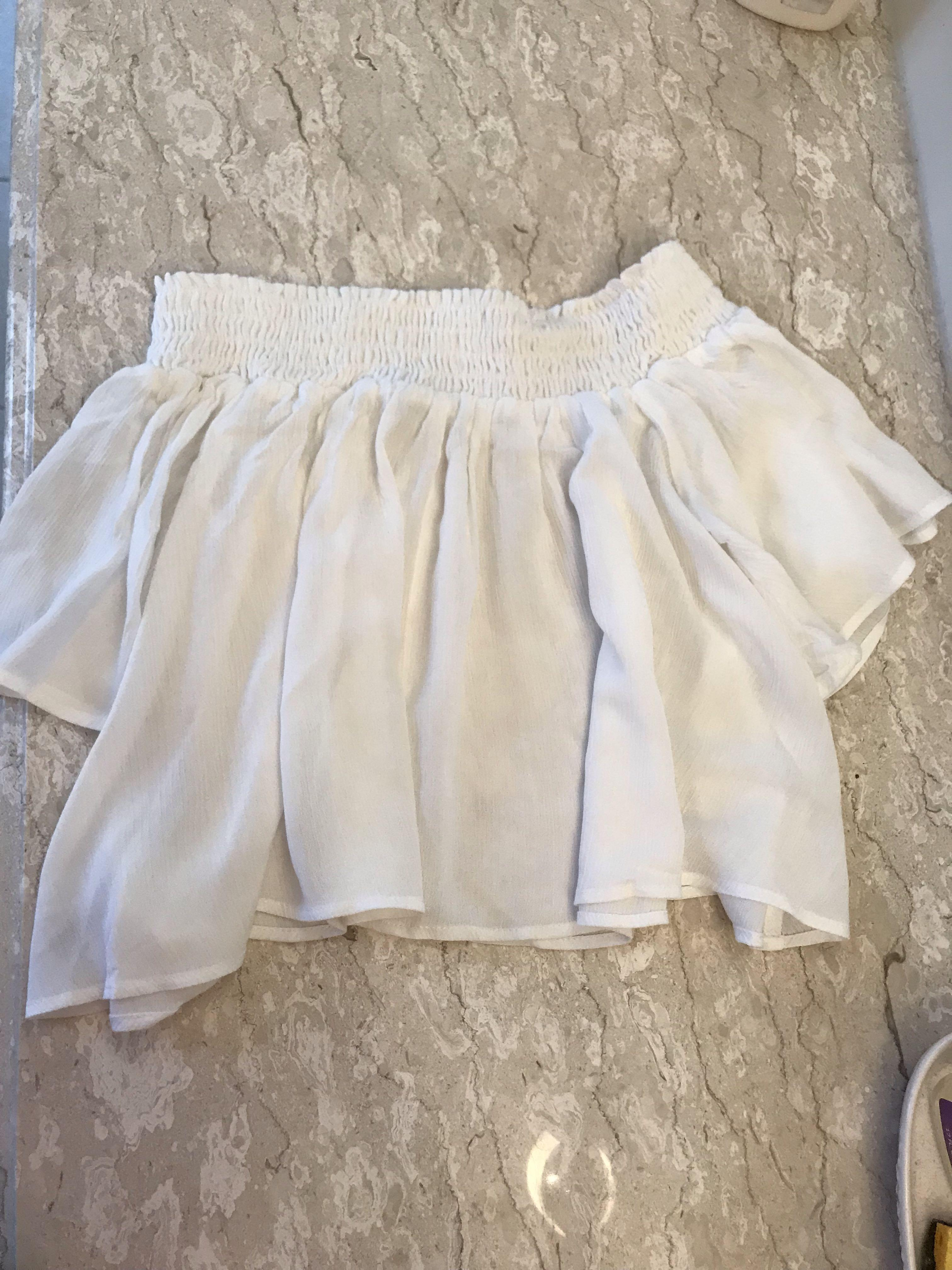 URBAN OUTFITTERS WHITE SMOCKED OFF THE SHOULDER TOP