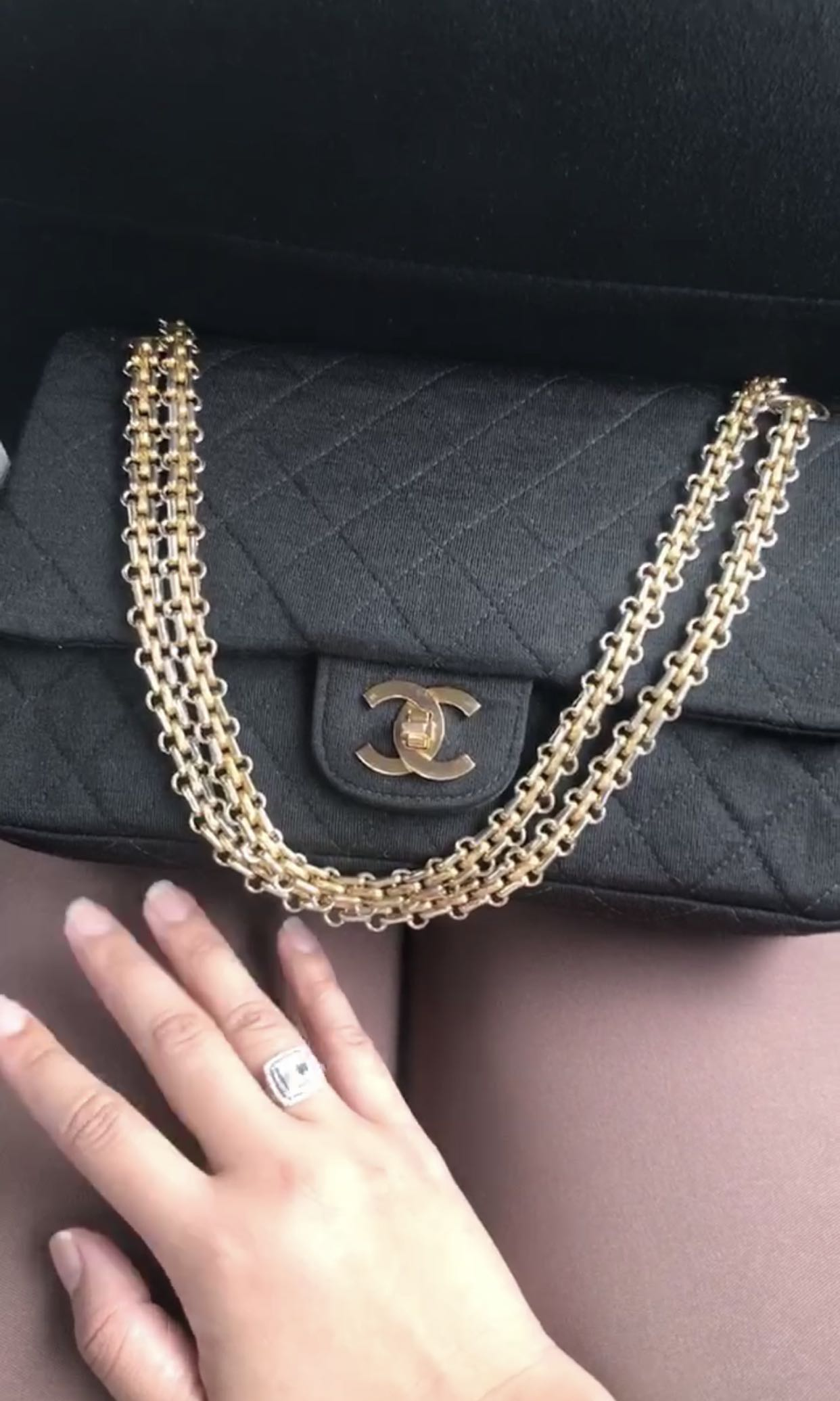 39df78fe1058 Vintage Chanel classic black jersey 2.55 bag with double flap and ...