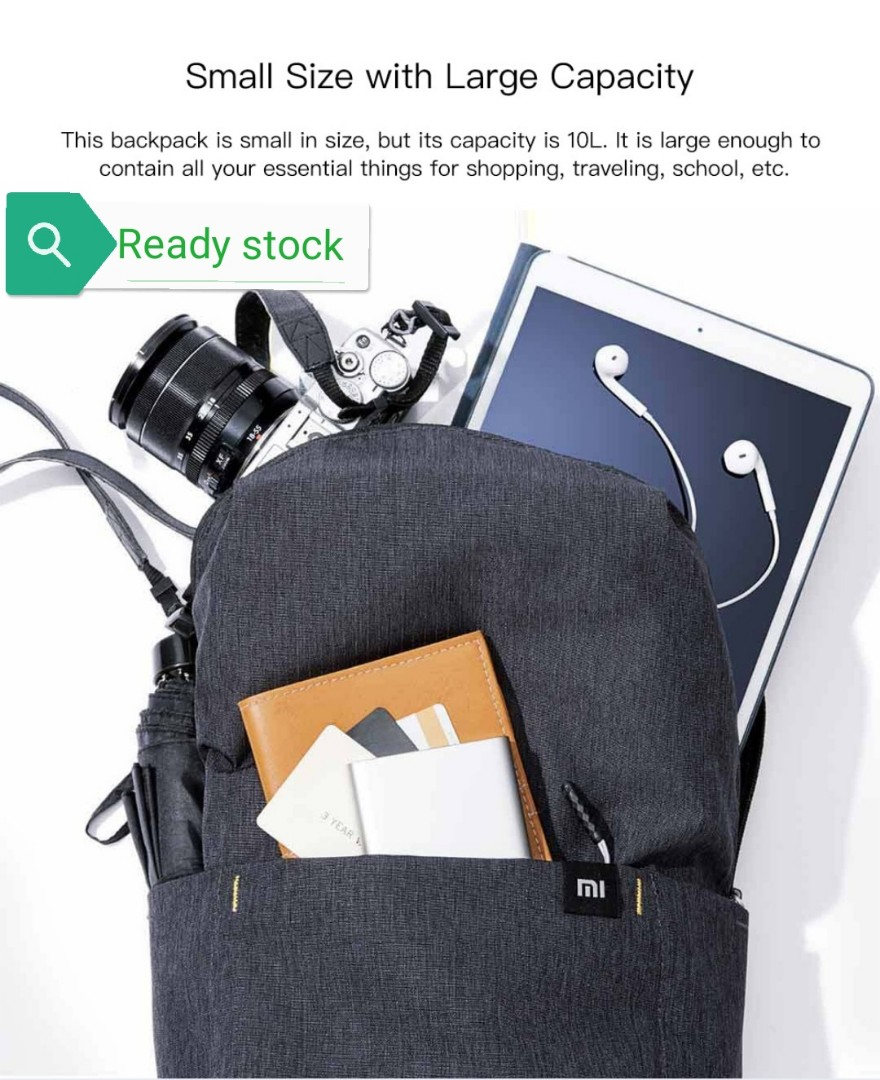 Xiaomi Small Backpack Level 4 Waterproof 10L Capacity Lightweight Burden  YKK Zipper.. 89faef64b057f