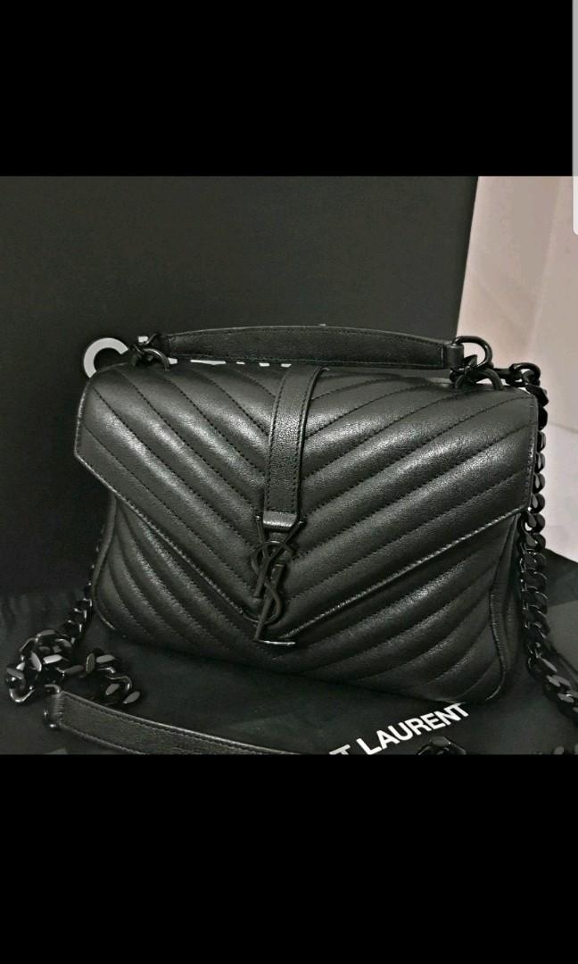 YSL College Bag medium Black on black f0f9545e42300