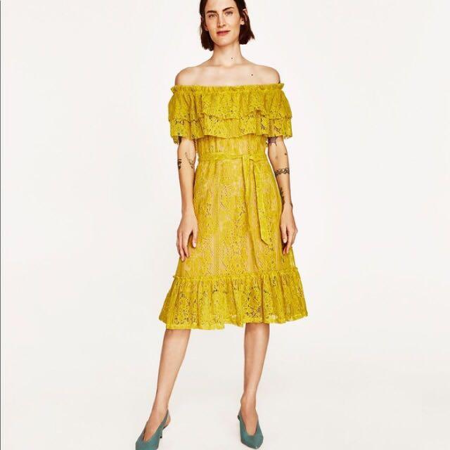 075bdf30fdbb Zara yellow off shoulder lace dress