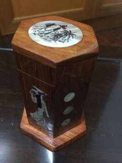 Wooden toothpick holder with mother of pearl inlay