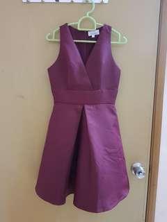 (3 for RM100) Deep V dark red dress